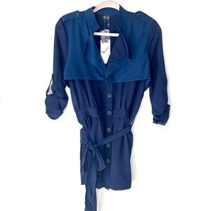 NWT. VERY J. Blue polyester sheer blouse. Size L